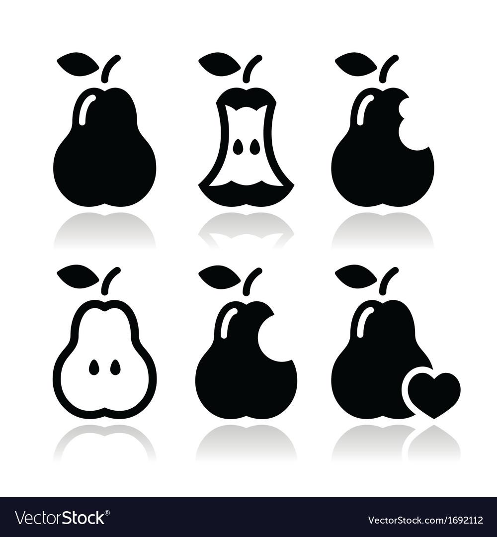 Pear pear core bitten half icons vector