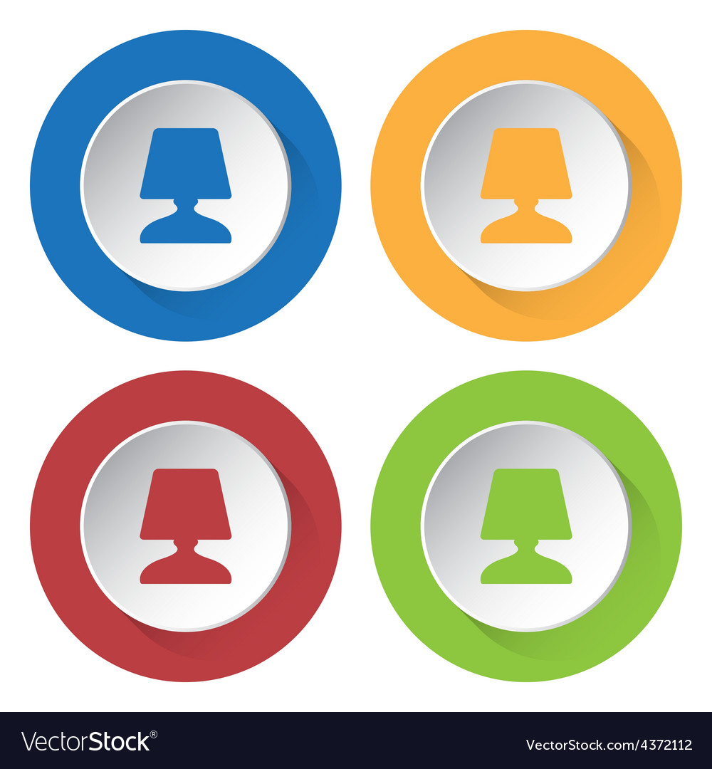 Set of four icons with lamp vector
