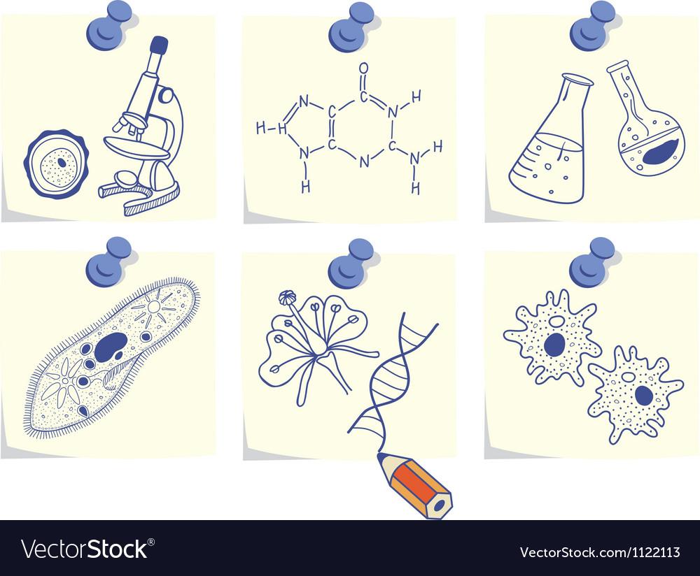 Biology on yellow memo sticks vector
