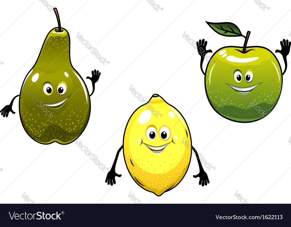 Green pear apple and yellow lemon fruits vector