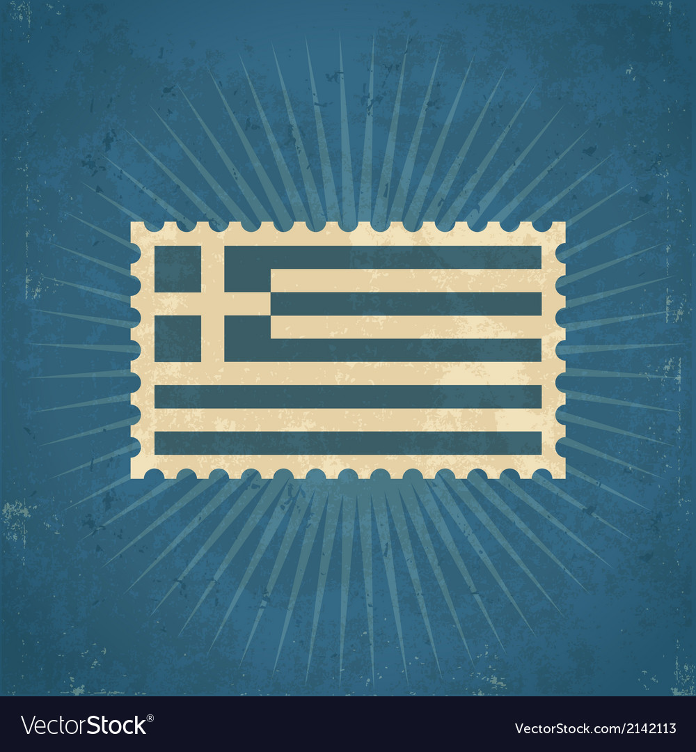 Retro greece flag postage stamp vector