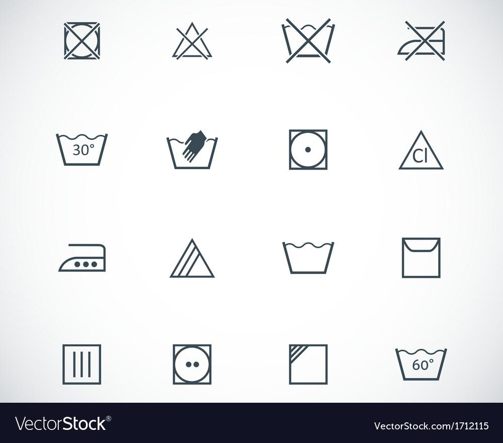 Black washing icons set vector