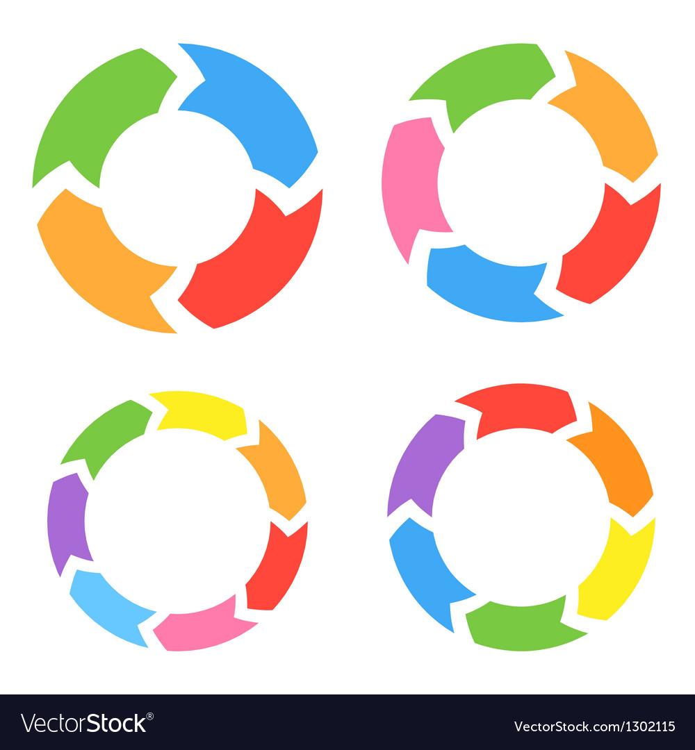 Color circle arrows set vector