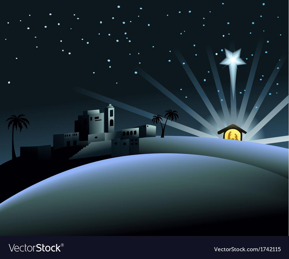 Nativity scene with holy family vector