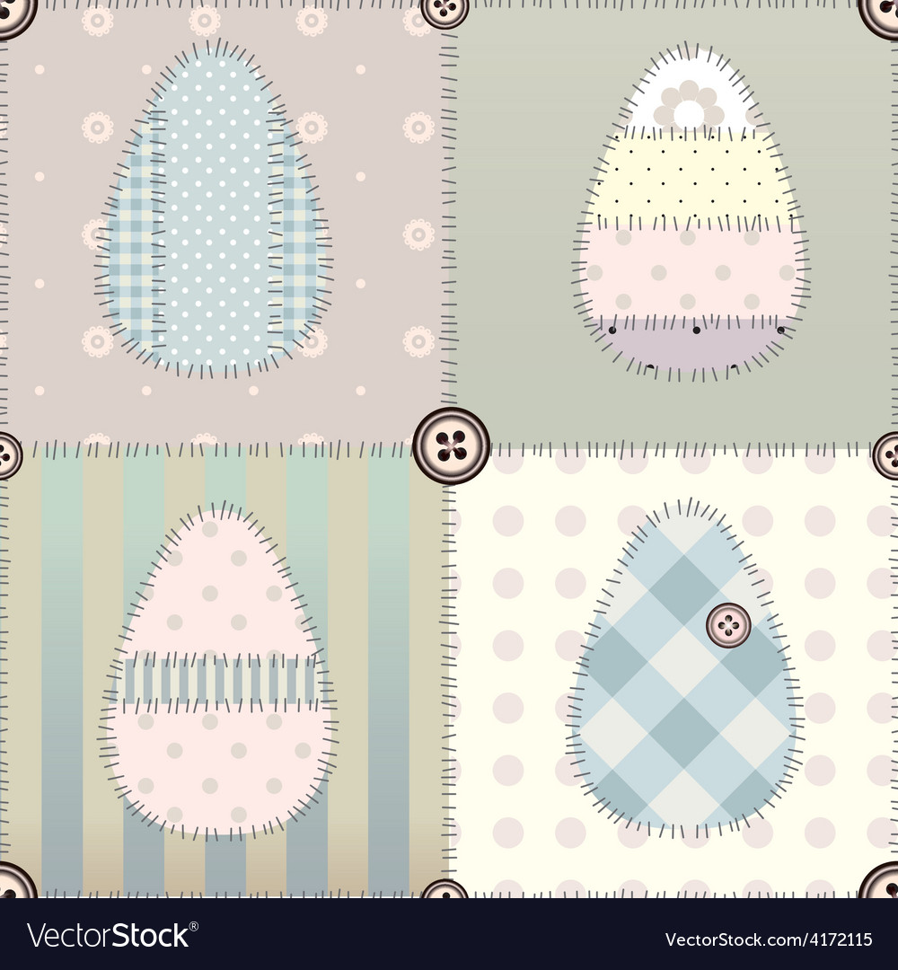 Patchwork easter pattern vector