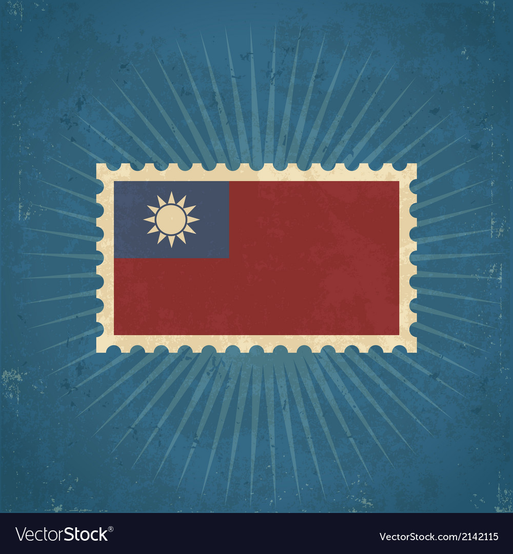 Retro taiwan flag postage stamp vector