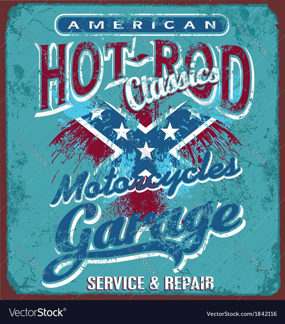 Hot rod motorcycle garage vector