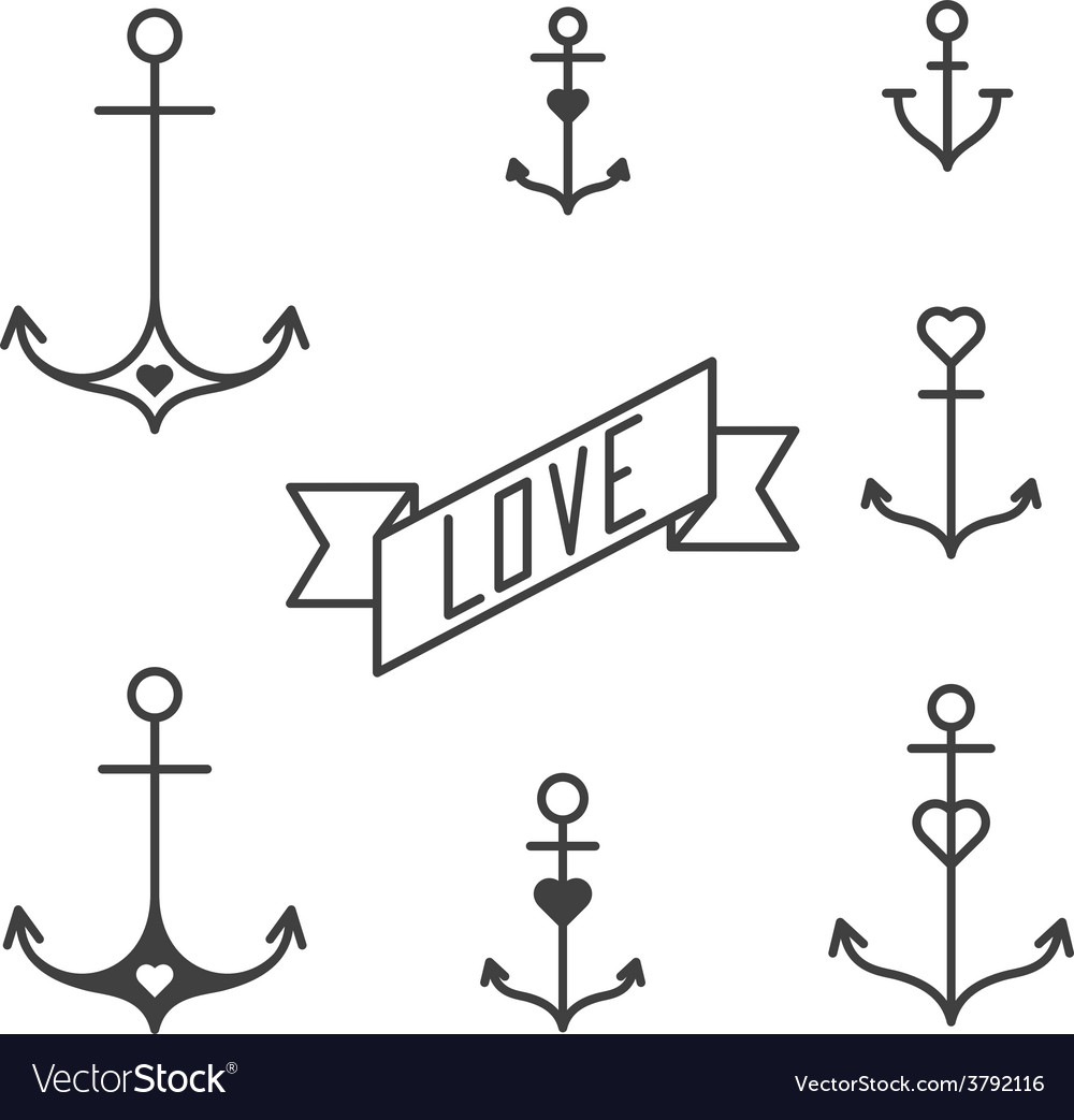 Set of seven lined anchors in tattoo style vector