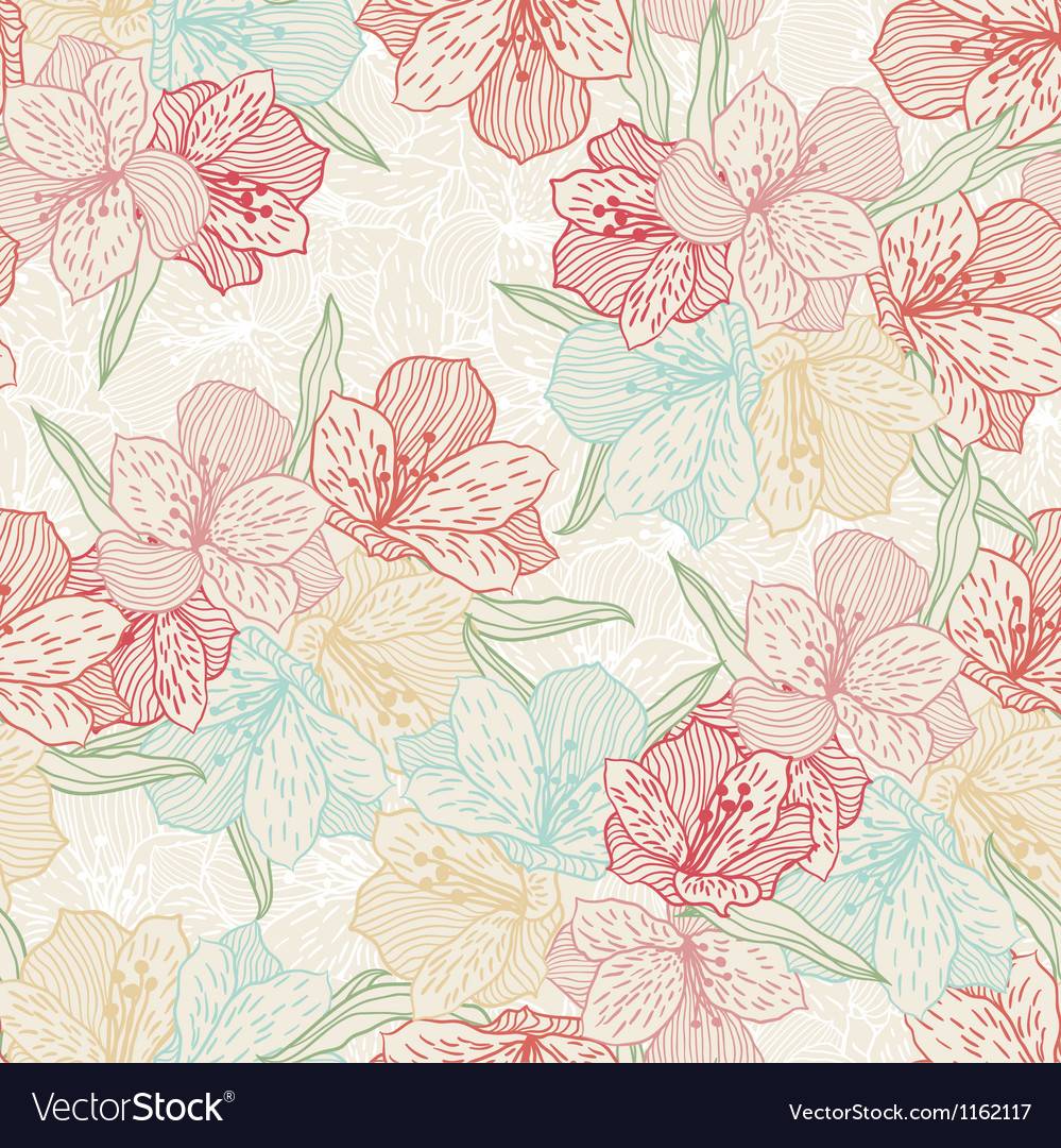 Abstract vintage seamless flower pattern with vector