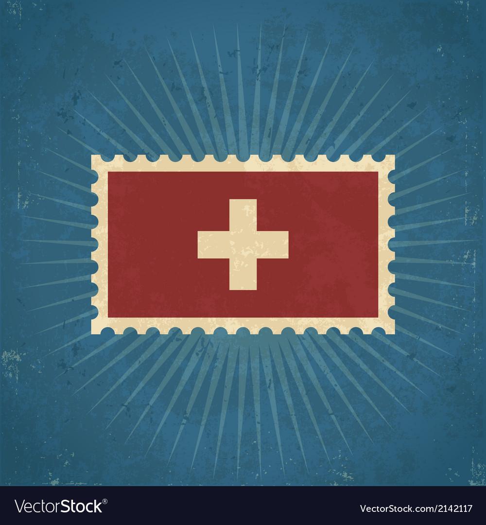 Retro switzerland flag postage stamp vector