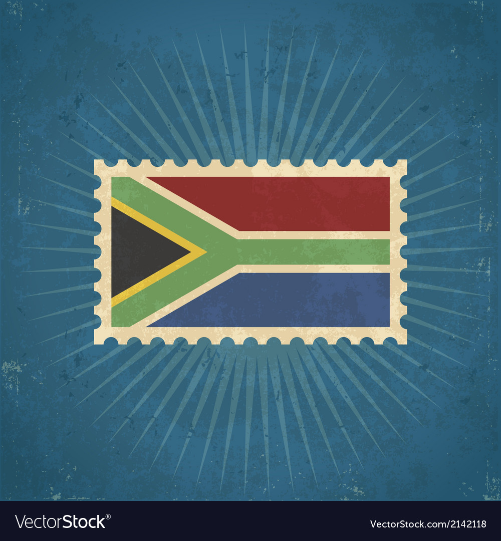 Retro south africa flag postage stamp vector