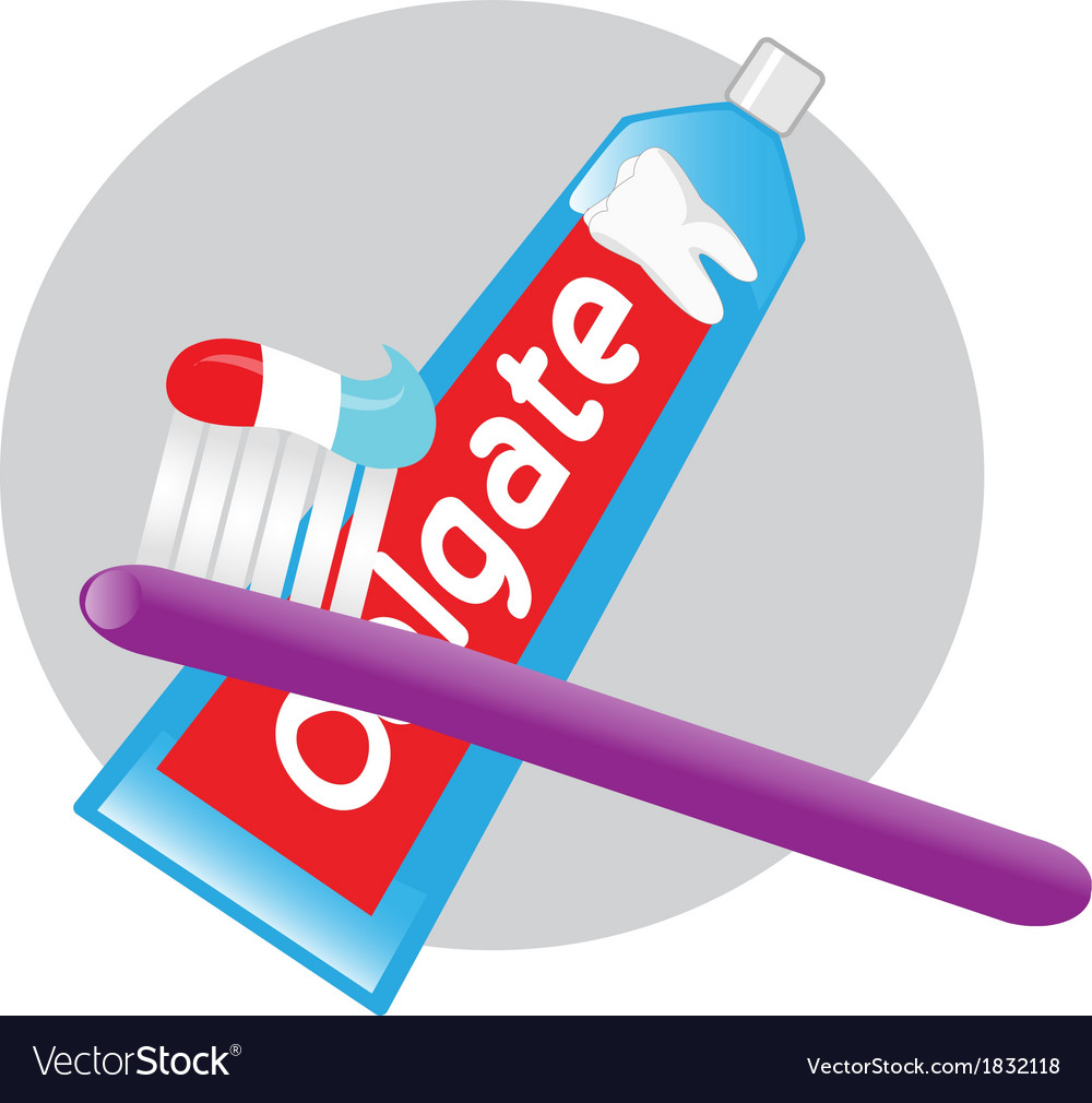 Toothpaste toothbrush vector