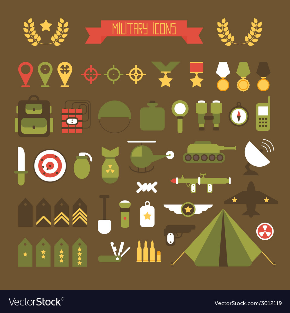 Military and war icons set army infographic design vector