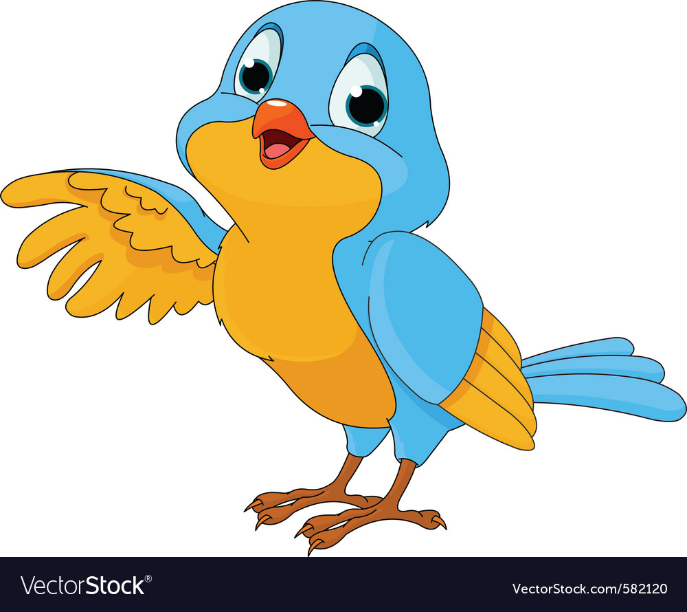 Cartoon of a cute talking bird vector