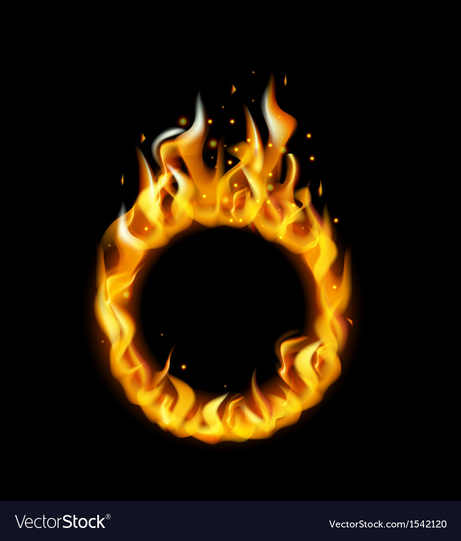 Fire flame in circular frame vector