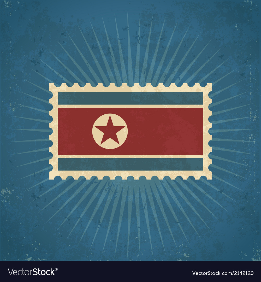 Retro north korean flag postage stamp vector
