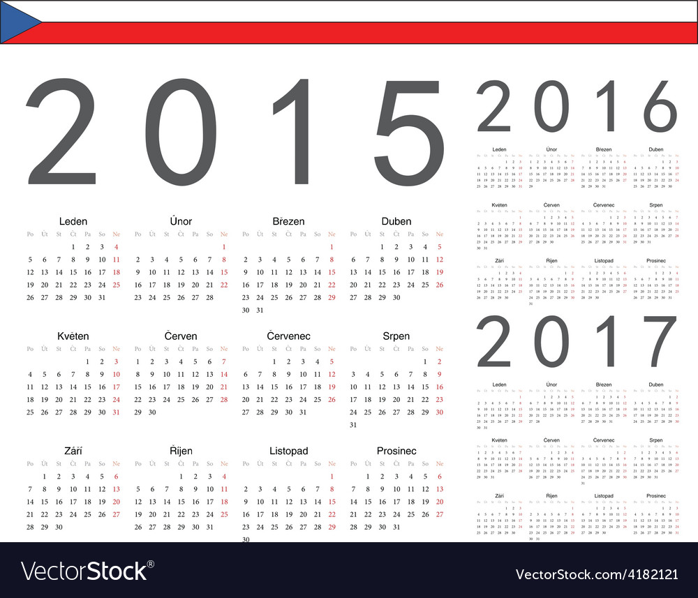 Czech square calendars 2015 2016 2017 vector