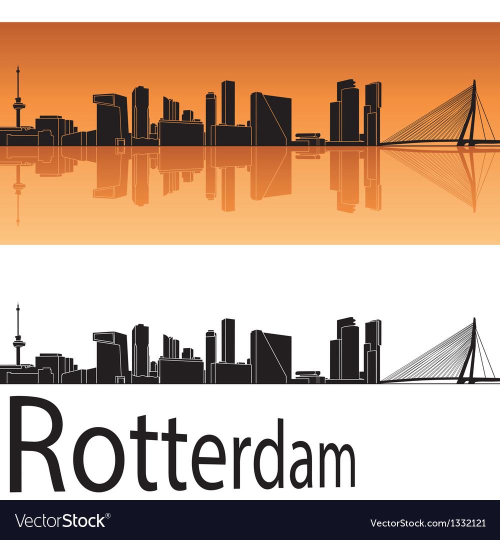 Rotterdam skyline in orange background vector