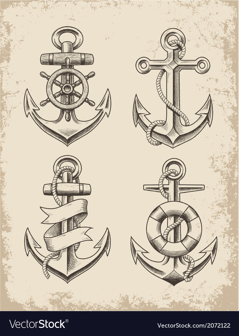 Hand drawn anchor set vector