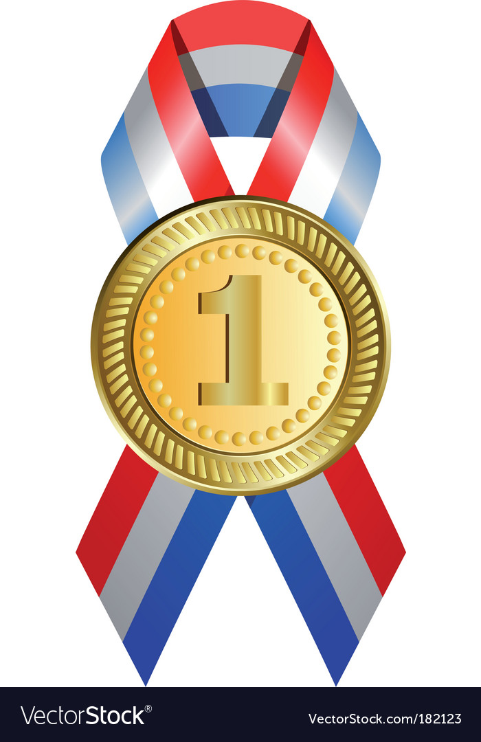 Gold medal with ribbon vector