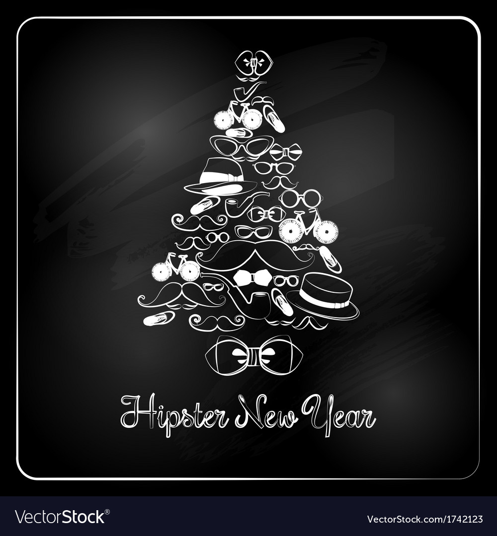 Hipster christmas tree on chalkboard background vector