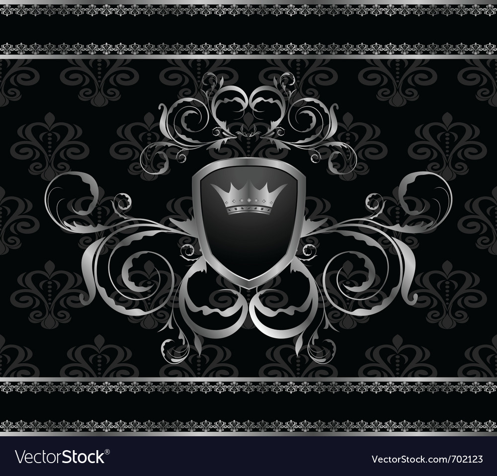 Luxury vintage aluminum frame template - vector