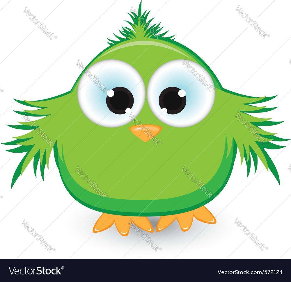 Cartoon green sparrow vector