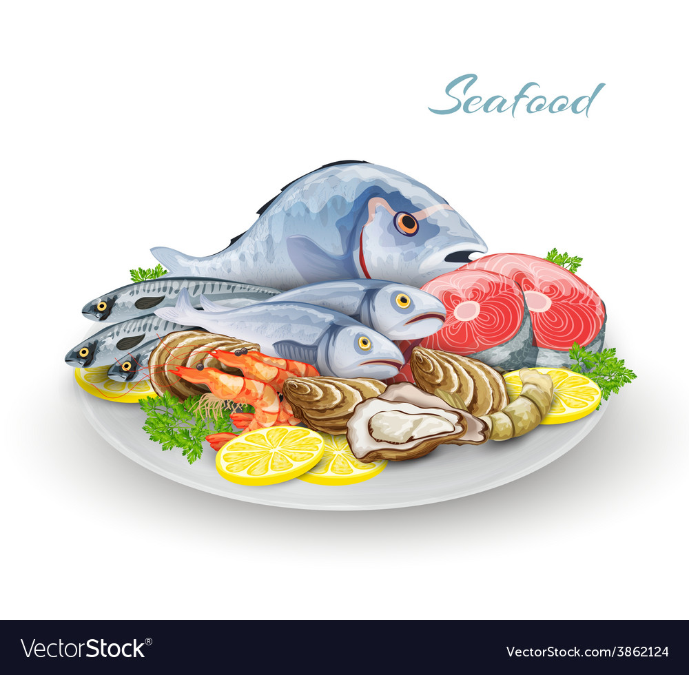 Seafood plate composition vector