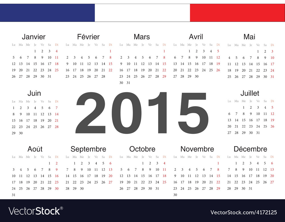 French rcircle calendar 2015 vector