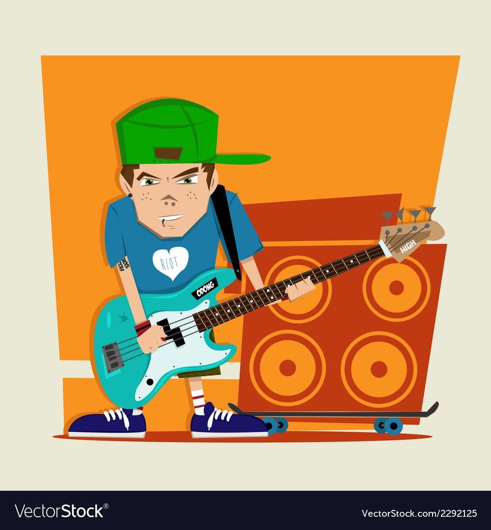 Punk rock boy bass player vector