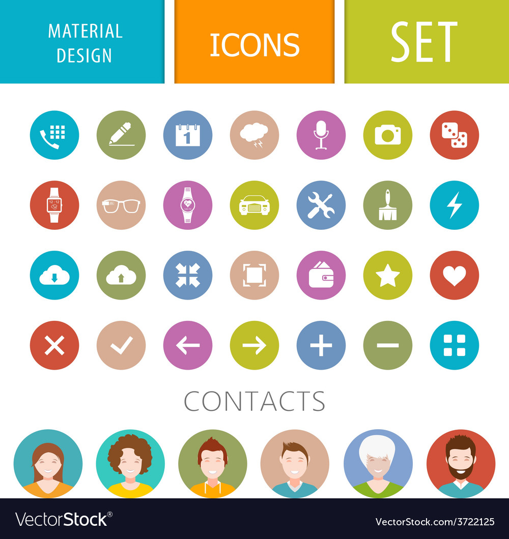 Set of icons in style of material design vector
