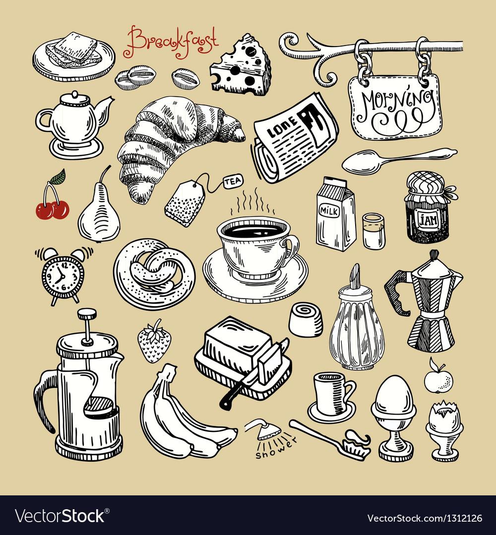 Sketch morning breakfast set vector