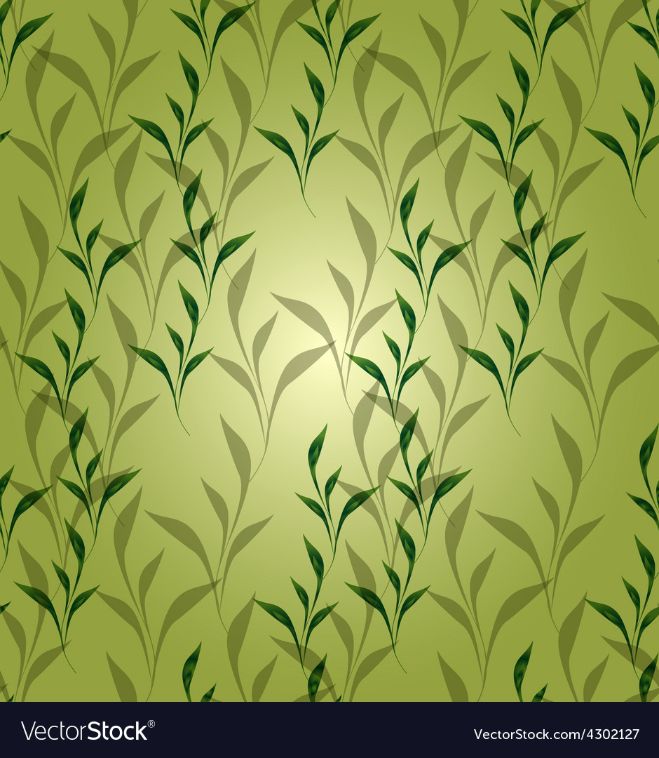 Seamless background with green leaves eps vector