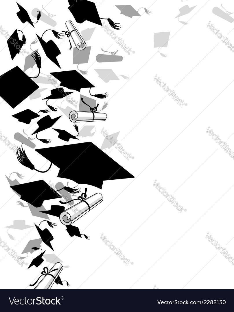 Graduate caps and diploma vector