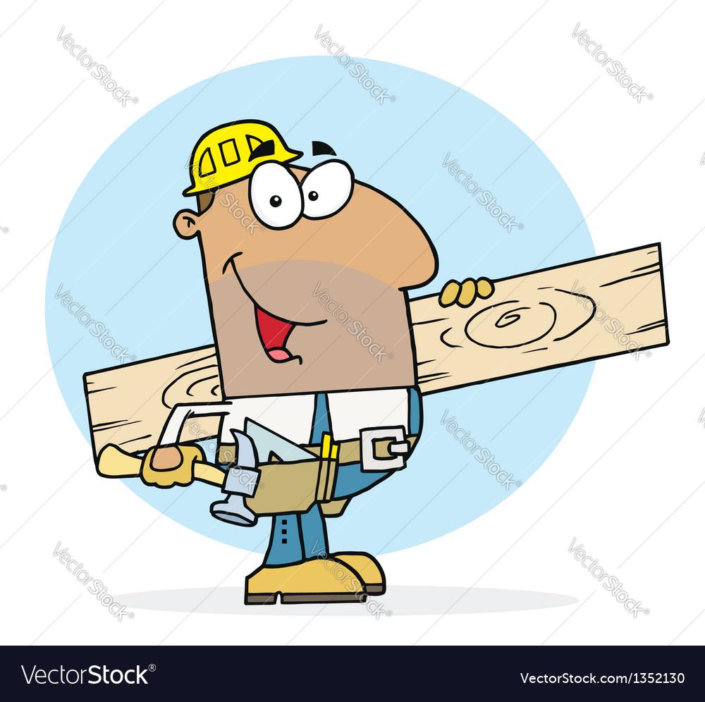 Hispanic worker man a wood plank vector
