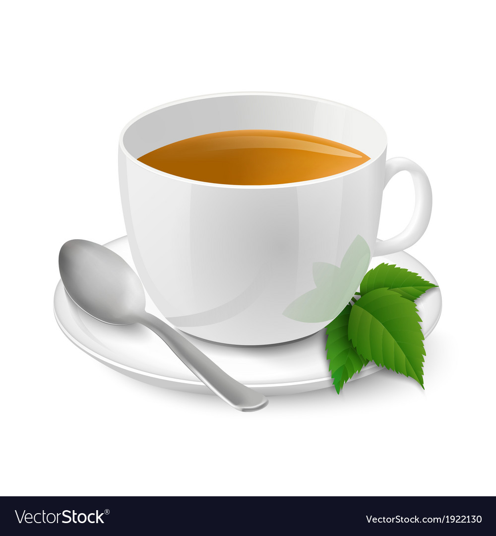 Realistic white cup with black tea and mint vector