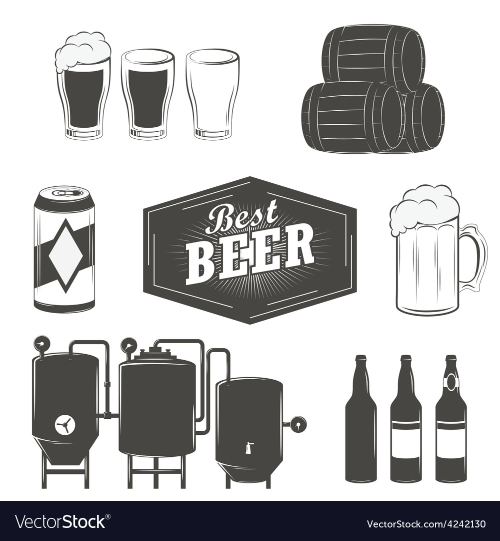 Vintage beer emblems labels and design elements vector