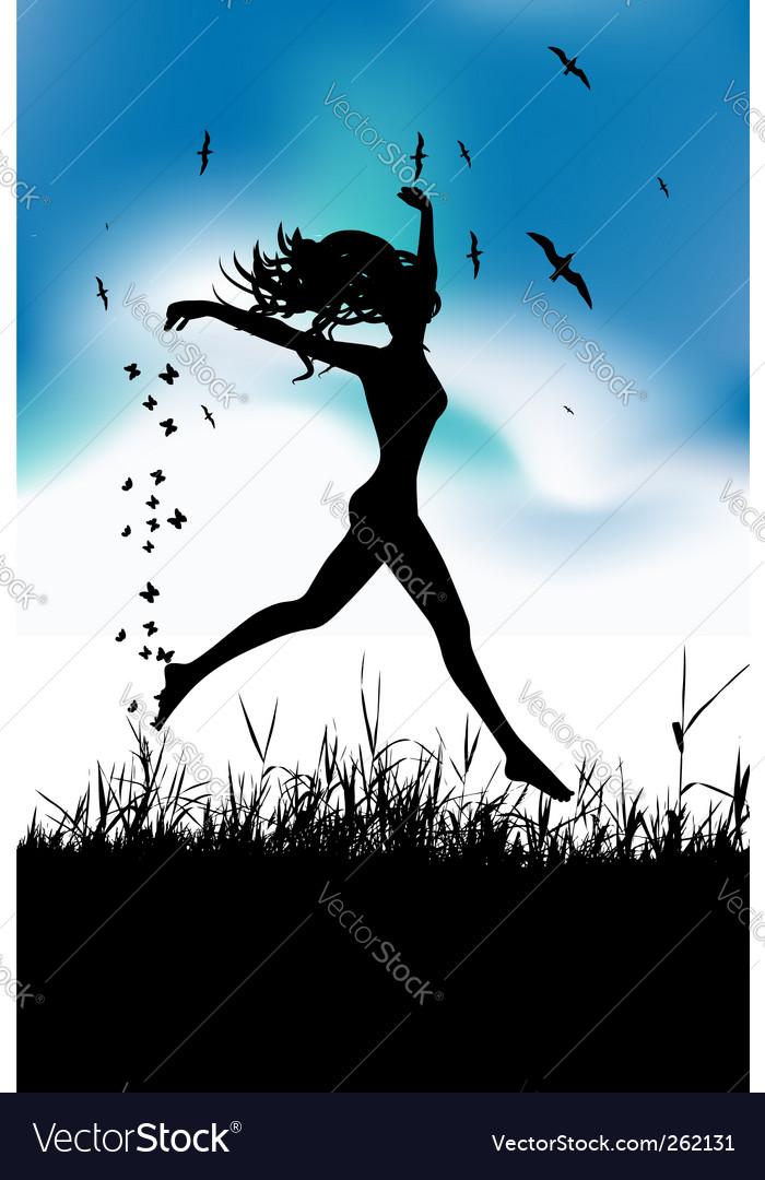 Girl running in field vector