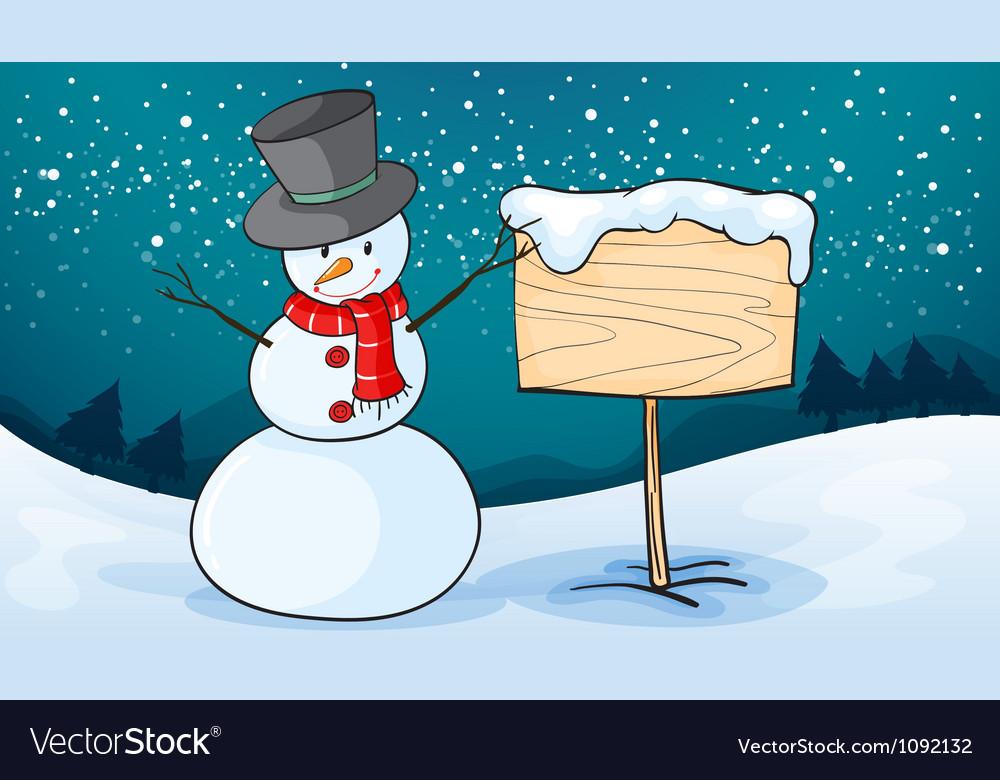 Snowman in snow land vector