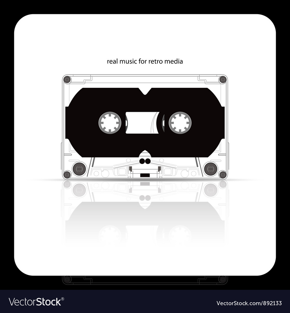 Audio tape cassette isolated on white vector
