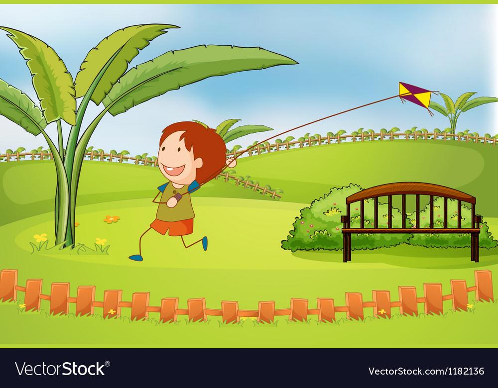 Cartoon kite boy vector
