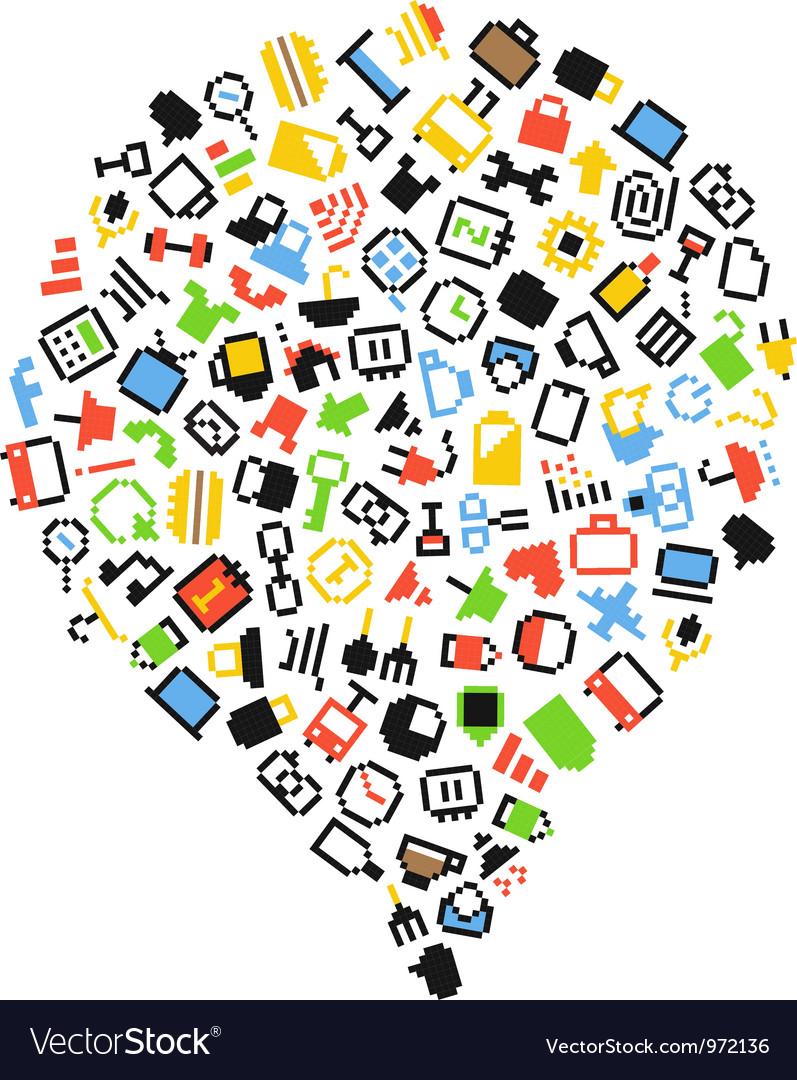 Speech cloud of color pixel icons vector