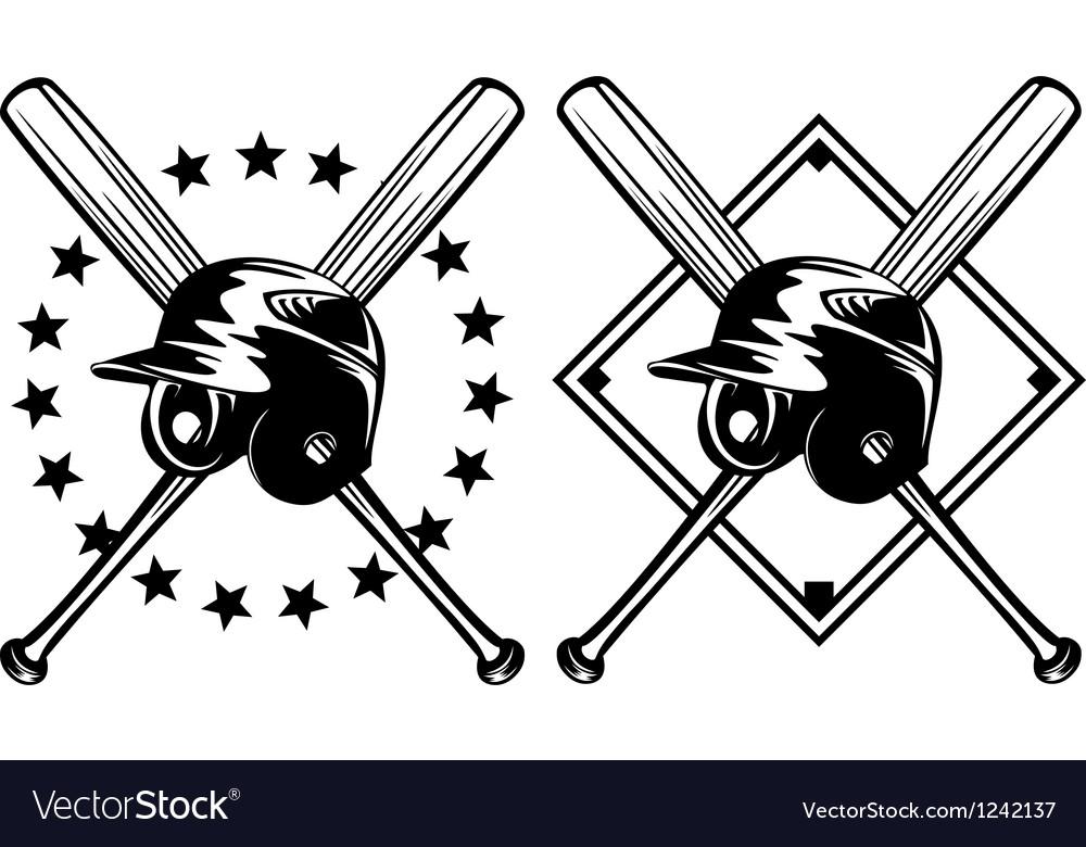 Baseball helmet and crossed bats vector