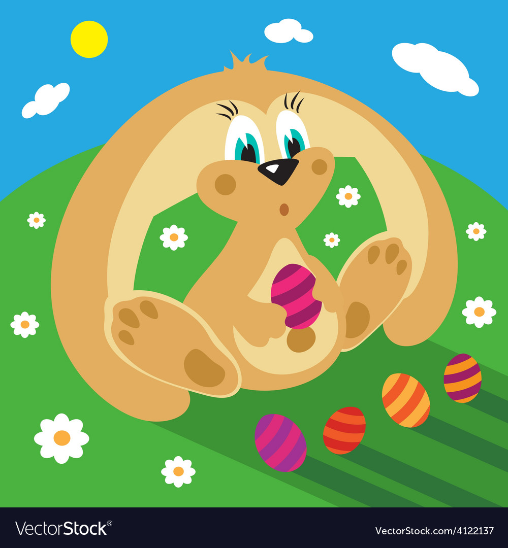 Cartoon rabbit with easter eggs on the grass vector