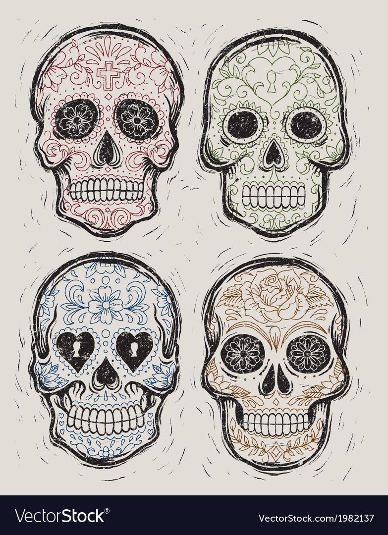 Woodcut day of the dead sugar skull set vector