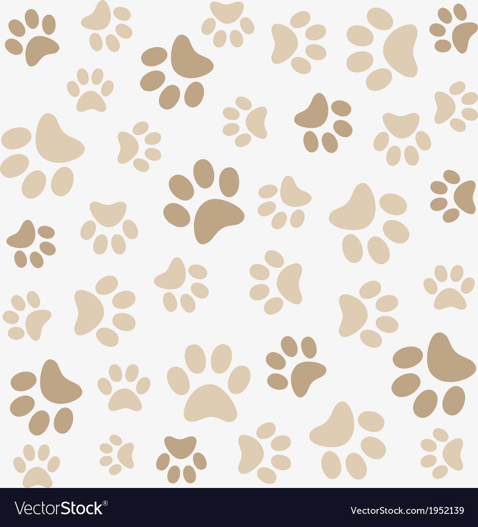 Seamless animal pattern of paw footprint vector