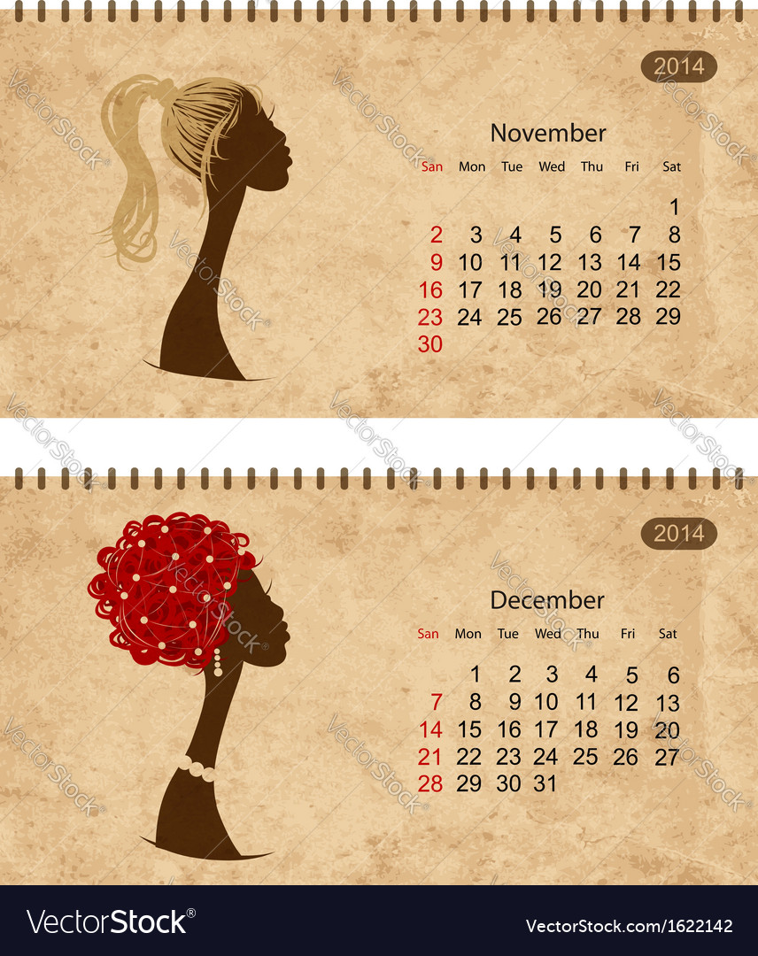 Calendar 2014 with female profile on grunge paper vector