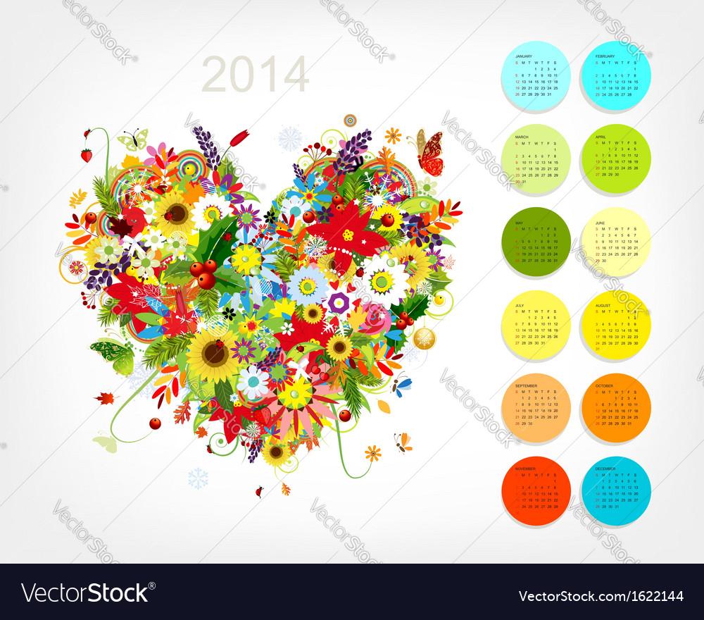 Calendar 2014 with four season heart for your vector