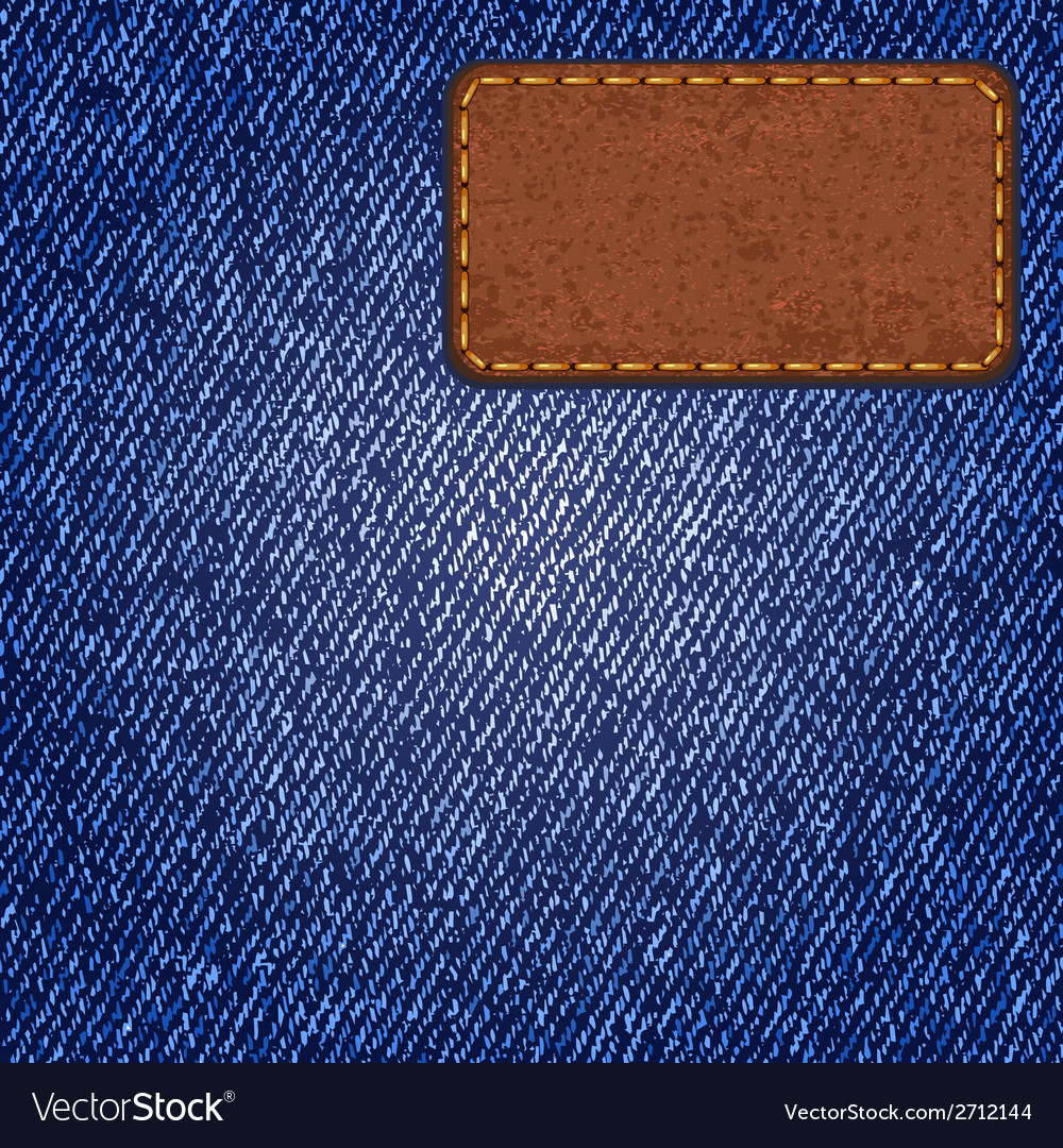 Jeans texture with leather label vector