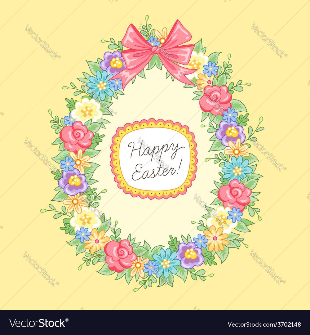 Easter wreath egg vector